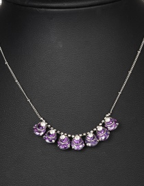 Fashion Purple Waterdrop Shape Decorated Necklace