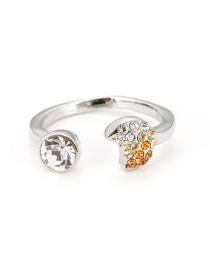 Fashion Silver Color Full Diamond Decorated Moon Shape Opening Ring