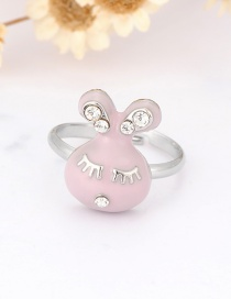 Fashion Light Pink Rabbit Shape Decorated Ring