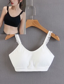 Fashion White Pure Color Deocrated Bra