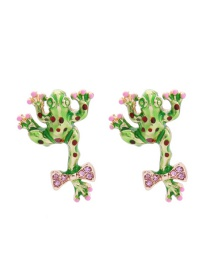 Fashion Green Frog Shape Decorated Earrings