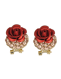 Fashion Red Flower&diamond Decorated Earrings