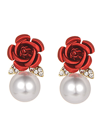 Fashion Red Pearls&flower Decorated Earrings