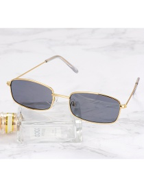 Fashion Gold Color+black Square Shape Decorated Sunglasses
