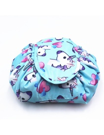 Fashion Light Blue Unicorn&heart Pattern Decorated Storage Bag