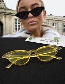 Fashion Yellow Oval Shape Design Pure Color Glasses