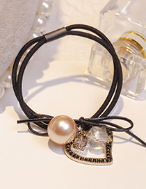 Lovely Champagne Heart Shape Decorated Double Layer Hair Band