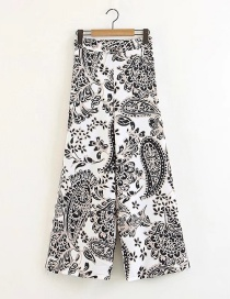 Fashion White Flowers Pattern Decorated Wide-legs Pants