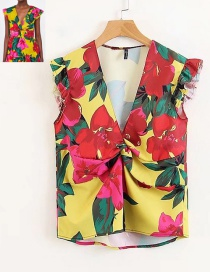 Fashion Red+yellow Flowers Pattern Decorated V Neckline Blouse