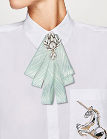 Fashion Light Green Pure Color Design Bowknot Brooch