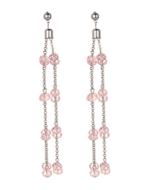 Fashion Pink Beads Decorated Long Tasel Earrings
