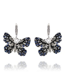 Elegant Blue Butterfly Shape Design Earrings