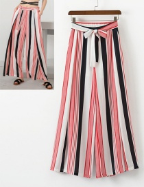 Fashion White+red Stripe Pattern Decorated Wide-legs Pants