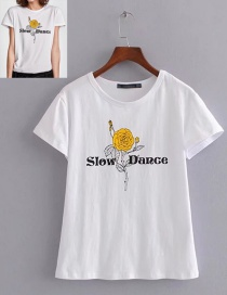 Fashion White Letter&flower Pattern Decorated T-shirt