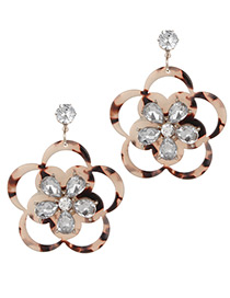 Fashion Light Pink Flower Shape Design Hollow Out Earrings