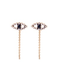 Fashion Gold Color Eyes Shape Decorated Long Earrings