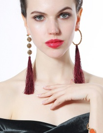 Fashion Claret Red Tassel Decorated Asymmetric Long Earrings