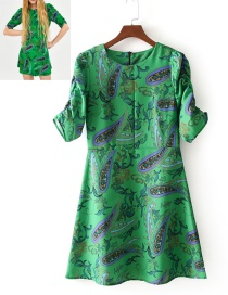 Fashion Green Cashew Pattern Decorated Round Neckline Dress