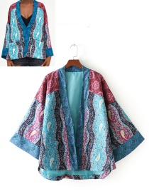 Fashion Blue Flowers Pattern Decorated Long Sleeves Coat