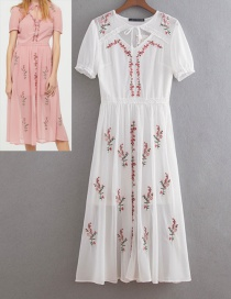 Fashion White Embroidery Flower Decorated Short Sleeves Dress