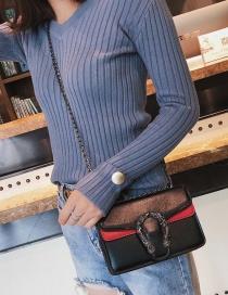 Fashion Black Snakehead Decorated Shoulder Bag