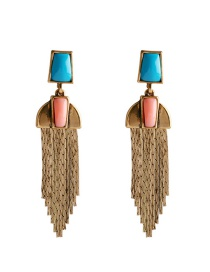 Fashion Gold Color Tassel Decorated Long Earrings