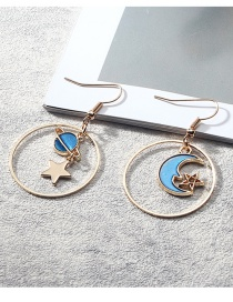 Fashion Blue Moons Pendant Decorated Long Earrings
