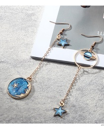 Fashion Blue Star Shape Pendant Decorated Earrings