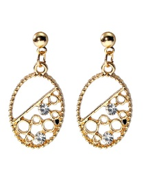 Fashion Gold Color Oval Shape Design Hollow Out Earrings