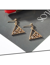 Fashion Gold Color Triangle Shape Design Hollow Out Earrings