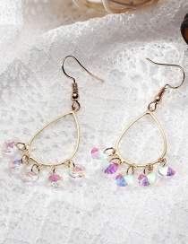 Fashion Gold Color Round Shape Diamond Decorated Long Earrings
