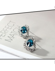 Fashion Silver Color+blue Hollow Out Design Color Matching Earrings