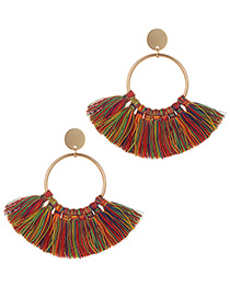 Fashion Multi-color Tassel Decorated Circular Ring Earrings