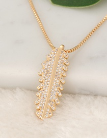 Fashion Gold Color Leaf Pendant Decorated Necklace