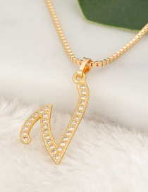 Fashion Gold Color Letter V Pendant Decorated Necklace