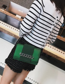 Fashion Green Chains Decorated Pure Color Shoulder Bag