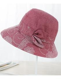 Fashion Dark Pink Flower Pattern Decorated Hat