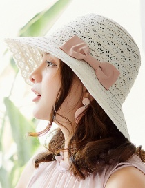Fashion White Bowknot Shape Decorated Hollow Out Hat