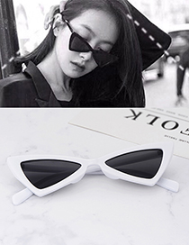 Fashion White Triangle Shape Decorated Sunglassess