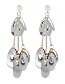 Fashion Silver Color Hollow Out Design Tassel Earrings