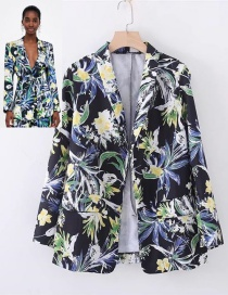Fashion Multi-color Flowers Decorated Long Sleeves Coat