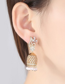 Fashion Gold Color Bell Pendant Decorated Earrings