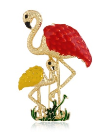 Fashion Red Flamingos Shape Decorated Brooch