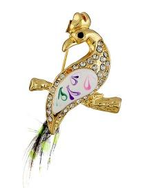 Fashion Gold Color Full Diamond Decorated Bird Brooch