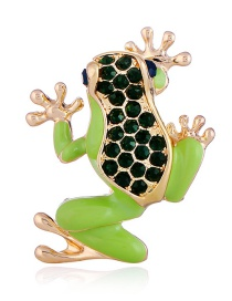 Fashion Green Full Diamond Decorated Frog Brooch