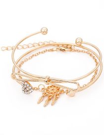 Fashion Gold Color Bowknot Decorated Bracelet(3pcs)