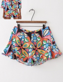 Fashion Multi-color Flower Pattern Decorated Pants