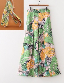 Fashion Green Leaf Pattern Decorated Dress