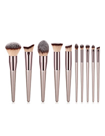 Fashion Champagne Multiple Shapes Design Cosmetic Brush(10pcs)