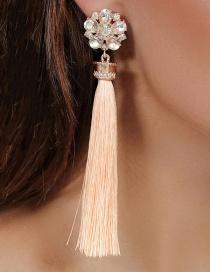 Fashion Pink Diamond Decorated Long Tassel Earrings